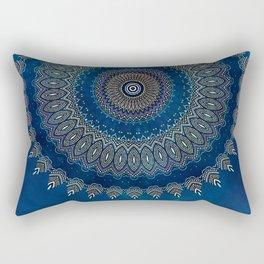 Blue Detailed Mandala Esoteric Pattern Rectangular Pillow