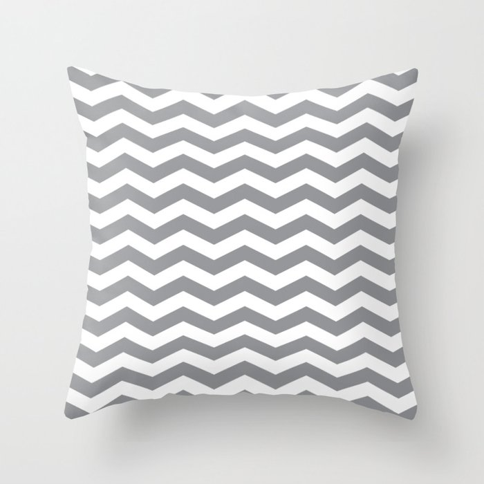 Grey Chevron Pattern Throw Pillow