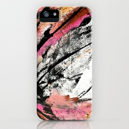Motivation: a colorful, vibrant abstract piece in pink red, gold, black and white iPhone Case