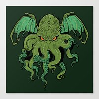 cthulhu Canvas Prints featuring Cthulhu by missmonster