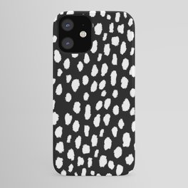 Handmade polka dot brush strokes (black and white reverse dalmatian) iPhone Case