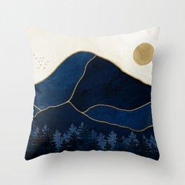 Mount Hood // Sapphire Blue Abstract Dream Oregon Gold Mountain Wilderness Forest Sun Landscape Throw Pillow