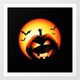 Smile Of Scary Pumpkin Art Print