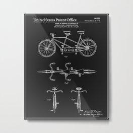 Tandem Bicycle Patent - Black Metal Print