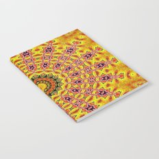 Lovely healing sacred Mandalas in yellow, orange, gold and red with a hint of white Notebook