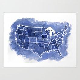 Watercolor Map of America Art Print