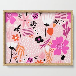 Pink Summer-Spring Floral Art Print Serving Tray