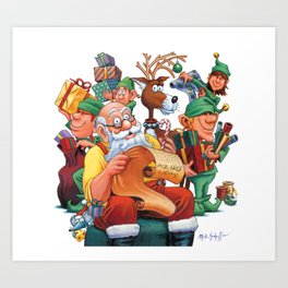 Santa checking his list with elves Art Print