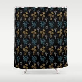 Floral Pattern 3 with Black Background Shower Curtain