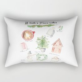 Winter Favorites in Watercolor Rectangular Pillow