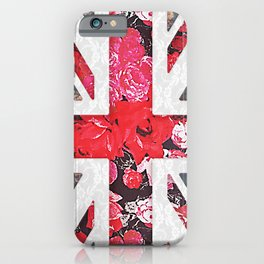 God save the Queen | Elegant girly red floral & lace Union Jack iPhone Case