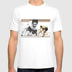 cycling legend Eddy 'The Cannibal' Merckx MEDIUM White Mens Fitted Tee