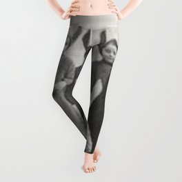 Bizzaro Bad Bunnies in the Countryside black and white photograph Leggings