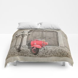 Nostalgia pink scooter Comforters
