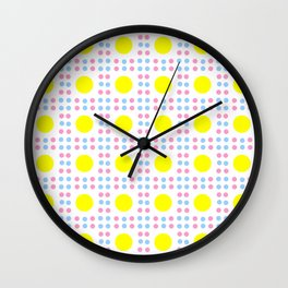 new polka dot 10 - Pink, blue and yellow Wall Clock