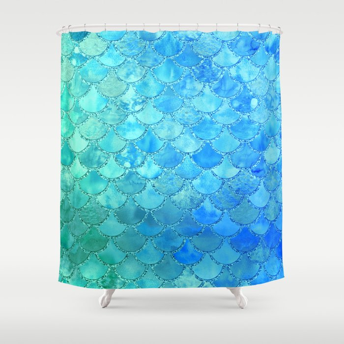 Summer Dream Colorful Trendy Mermaid Scales Shower Curtain