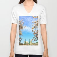 portland V-neck T-shirts featuring Portland Hanami by Casey J. Newman