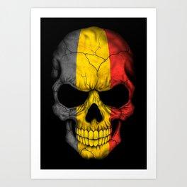Dark Skull with Flag of Belgium Art Print