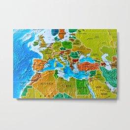 3d World Map Metal Print