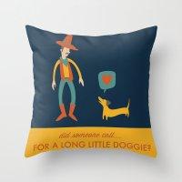 dachshund Throw Pillows featuring Dachshund by Ariel Wilson