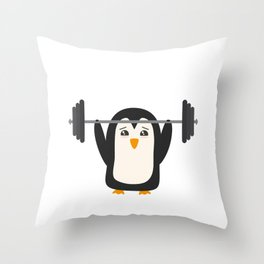 Penguin Weightlifting Throw Pillow