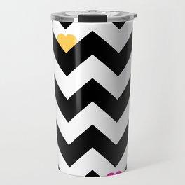 Heart & Chevron - Black/Multi Travel Mug