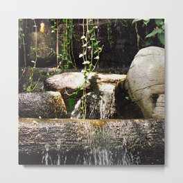dreamy water flowing over old Asian stones Metal Print