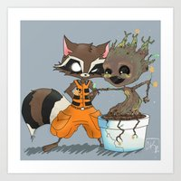 rocket raccoon Art Prints featuring Rocket Raccoon & Baby Groot by Whimsette