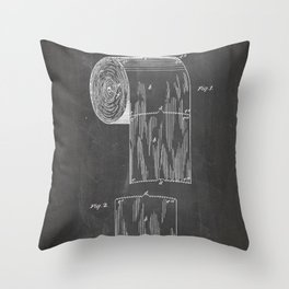 Toilet Paper Patent - Bathroom Art - Black Chalkboard Throw Pillow