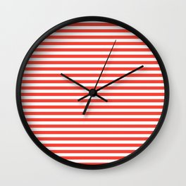 Even Horizontal Stripes, Red and White, S Wall Clock