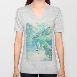 Breathe Blue Abstract Print Unisex V-Neck
