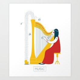 Woman harpist Art Print