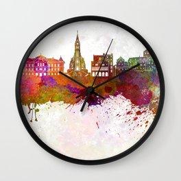 Vaduz skyline in watercolor background Wall Clock