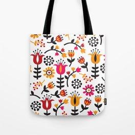 Retro Scandinavian Flowers Pattern Tote Bag