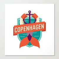 copenhagen Canvas Prints featuring Copenhagen by Fedi