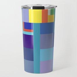 Blue Checker Pattern Travel Mug