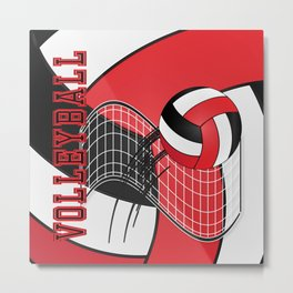 Volleyball Game Time  - Red Metal Print
