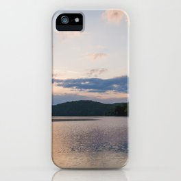 Sunrise Over Lake | Nature Landscape Photography of Pink Blue Sky Sunrise over Lake and Mountains iPhone Case