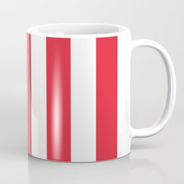 Rose madder red - solid color - white vertical lines pattern Coffee Mug