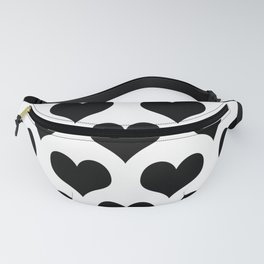 White Black Heart Minimalist Fanny Pack
