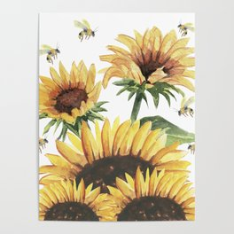 Sunflowers and Honey Bees Poster