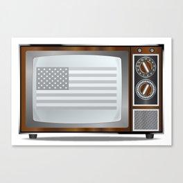 Patriotic Black And White Television Canvas Print