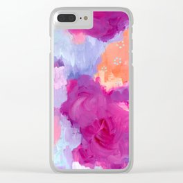 Red Lips and Rosy Cheeks, Magenta, Coral, Light Blue Abstract Art Clear iPhone Case