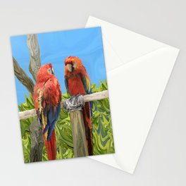 Scarlet Macaw Parrots Perching Stationery Cards