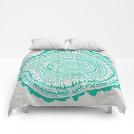Turquoise Tree Rings Comforters