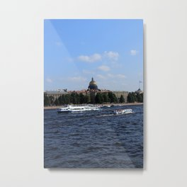 Passenger Boats on Neva River with dome of St. Isaac's Cathedral. Metal Print