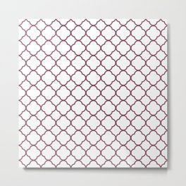 Purple, Mulberry: Quatrefoil Clover Pattern Metal Print