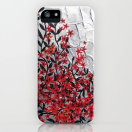 Red and black tree with textured silver background -Modern design iPhone Case
