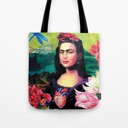 "Frida Kahlo Series by Michael Cuffe - ""Mona Kahlo Frida Lisa"" Tote Bag"