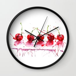 Bright cherry. Hand drawn watercolor illustration. Watercolor berries. Wall Clock